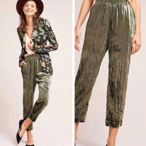 Ett Twa Anthropologie Green Velvet Jogger Pants M